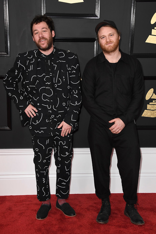 . LOS ANGELES, CA - FEBRUARY 12:  Musicians Kyle Dixon (L) and Michael Stein of S U R V I V E attend The 59th GRAMMY Awards at STAPLES Center on February 12, 2017 in Los Angeles, California.  (Photo by Frazer Harrison/Getty Images)