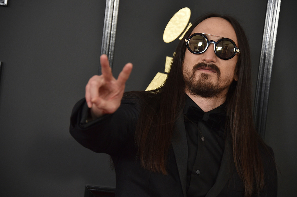 . Steve Aoki arrives at the 59th annual Grammy Awards at the Staples Center on Sunday, Feb. 12, 2017, in Los Angeles. (Photo by Jordan Strauss/Invision/AP)