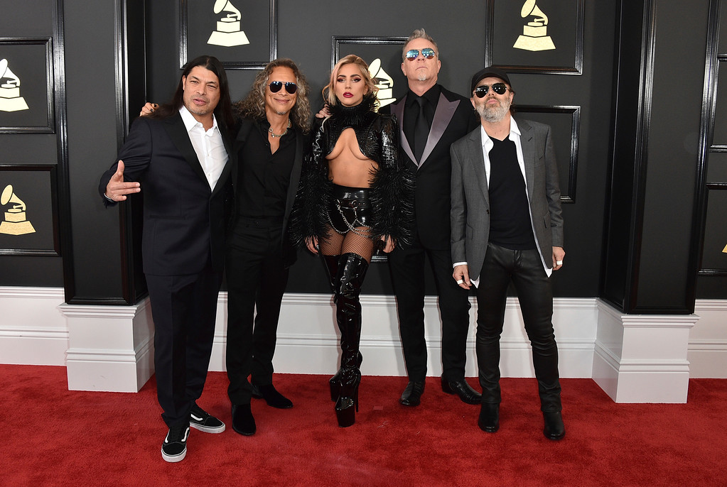 . Lady Gaga, center, and from left, Robert Trujillo, Kirk Hammett, James Hetfield, and Lars Ulrich of the musical group Metallica arrive at the 59th annual Grammy Awards at the Staples Center on Sunday, Feb. 12, 2017, in Los Angeles. (Photo by Jordan Strauss/Invision/AP)