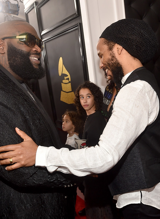 . LOS ANGELES, CA - FEBRUARY 12:  Singer Ziggy Marley, right, attends The 59th GRAMMY Awards at STAPLES Center on February 12, 2017 in Los Angeles, California.  (Photo by Alberto E. Rodriguez/Getty Images for NARAS)