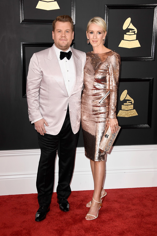 . LOS ANGELES, CA - FEBRUARY 12:  Host James Corden and Julia Carey attend The 59th GRAMMY Awards at STAPLES Center on February 12, 2017 in Los Angeles, California.  (Photo by Frazer Harrison/Getty Images)
