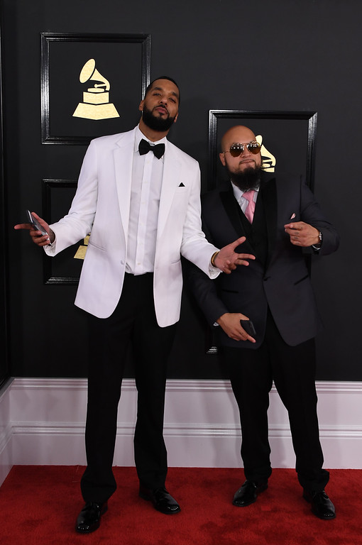 ". Marcello ""Cool\"" Antonio Valenzano and Andre \""Dre\"" Christopher Lyon (L) arrive for the 59th Grammy Awards pre-telecast on February 12, 2017, in Los Angeles, California.  (MARK RALSTON/AFP/Getty Images)"
