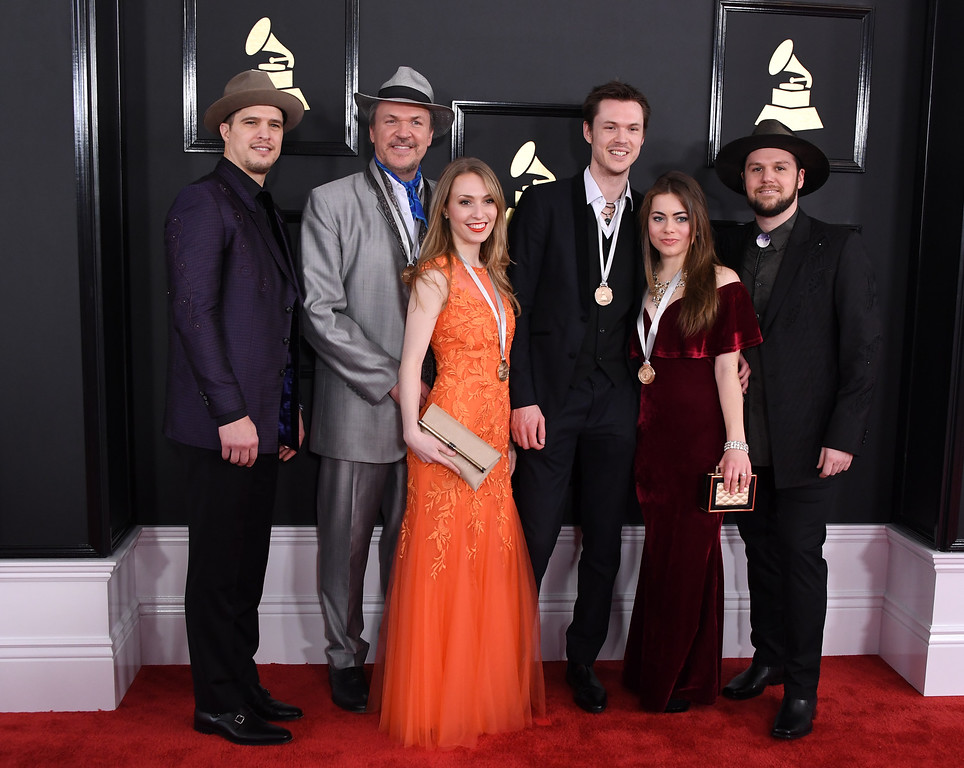 . Mark O\'Connor (2L) and the O\'Connor band arrive for the 59th Grammy Awards pre-telecast on February 12, 2017, in Los Angeles, California.  (MARK RALSTON/AFP/Getty Images)