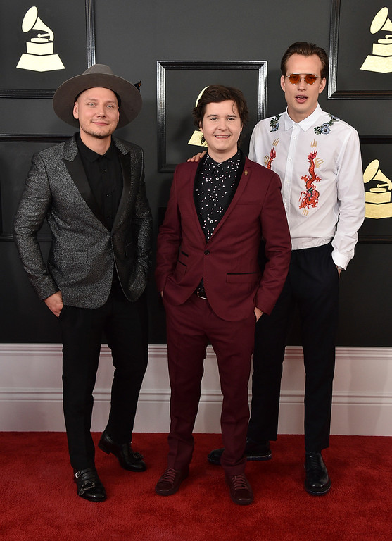 . Mark Falgren, from left, Lukas Graham Forchhamme, and Morten Ristorp of the musical group Lukas Graham arrive at the 59th annual Grammy Awards at the Staples Center on Sunday, Feb. 12, 2017, in Los Angeles. (Photo by Jordan Strauss/Invision/AP)