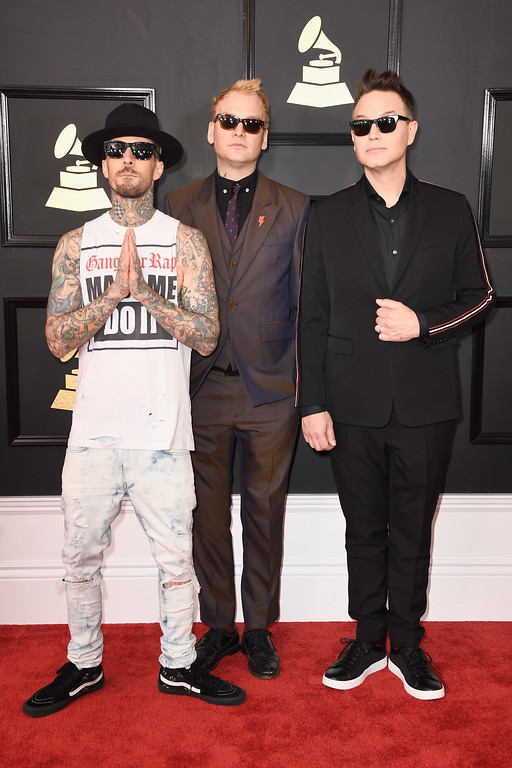 . LOS ANGELES, CA - FEBRUARY 12:  (L-R) Musicians Travis Barker, Mark Hoppus, and Matt Skiba of blink-182 attend The 59th GRAMMY Awards at STAPLES Center on February 12, 2017 in Los Angeles, California.  (Photo by Frazer Harrison/Getty Images)