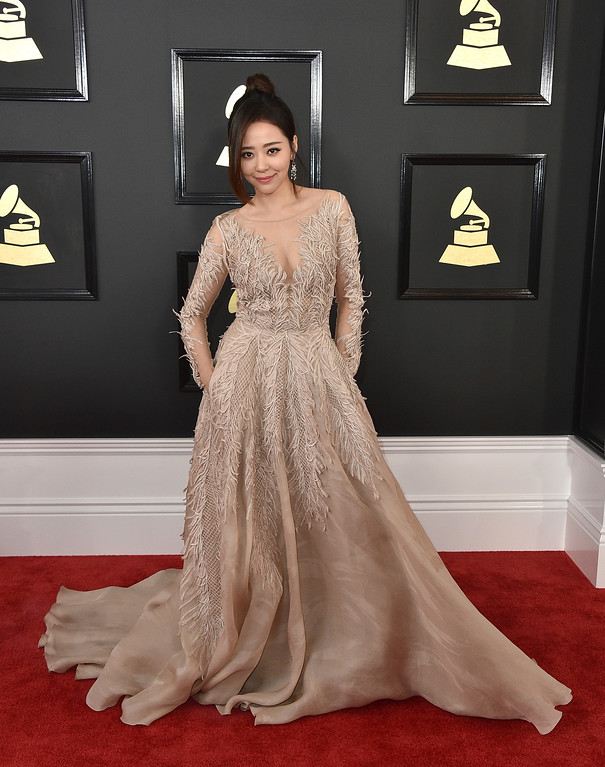. Jane Zhang arrives at the 59th annual Grammy Awards at the Staples Center on Sunday, Feb. 12, 2017, in Los Angeles. (Photo by Jordan Strauss/Invision/AP)