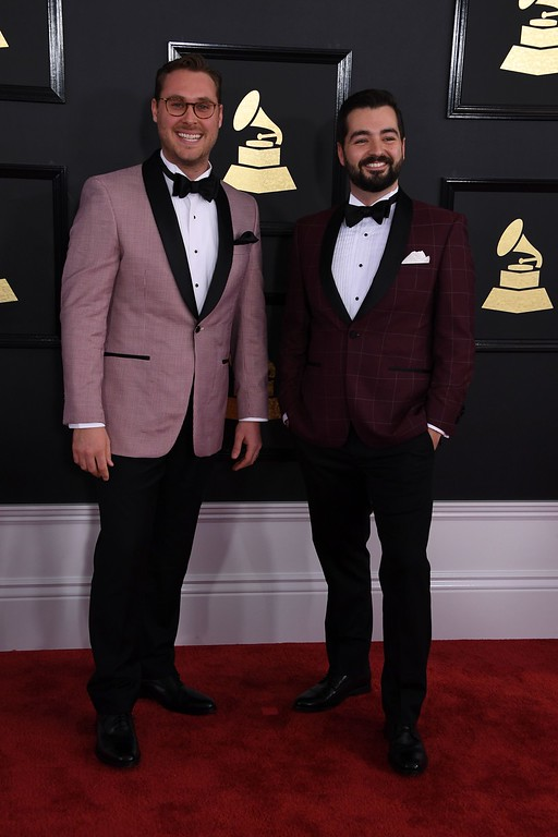 . The Okee Dokee Bothers arrive for the 59th Grammy Awards pre-telecast on February 12, 2017, in Los Angeles, California.  (MARK RALSTON/AFP/Getty Images)