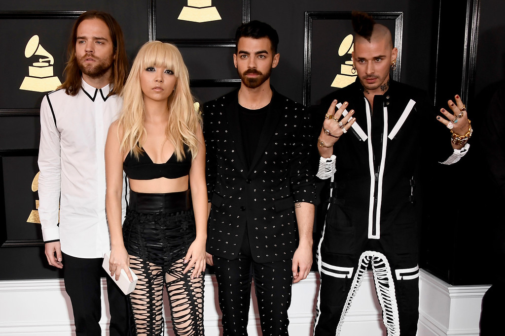 . LOS ANGELES, CA - FEBRUARY 12:  (L-R) Recording artists Jack Lawless, JinJoo Lee, Joe Jonas, and Cole Whittle of music group DNCE attend The 59th GRAMMY Awards at STAPLES Center on February 12, 2017 in Los Angeles, California.  (Photo by Frazer Harrison/Getty Images)