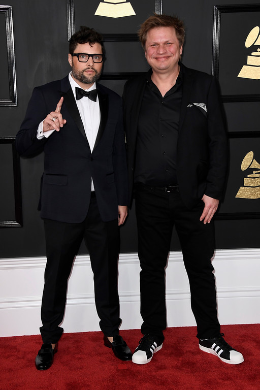 . LOS ANGELES, CA - FEBRUARY 12:  Musicians James Teej (L) and Timo Maas attend The 59th GRAMMY Awards at STAPLES Center on February 12, 2017 in Los Angeles, California.  (Photo by Frazer Harrison/Getty Images)