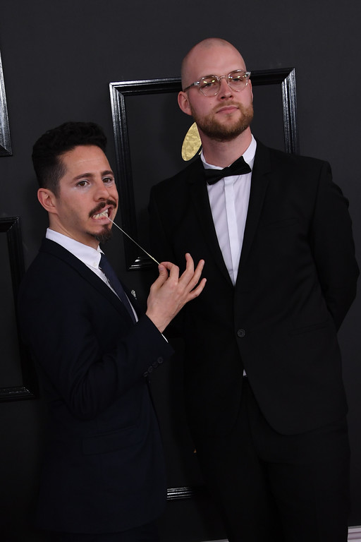 . Johnathan Dagan and Mathais Host arrive for the 59th Grammy Awards pre-telecast on February 12, 2017, in Los Angeles, California.  (MARK RALSTON/AFP/Getty Images)