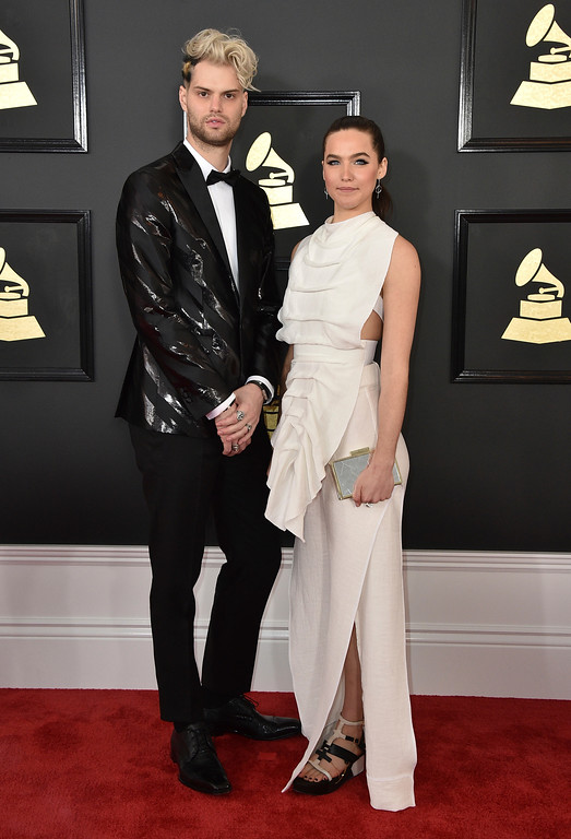 . Tucker Halpern, left, and Sophie Hawley-Weld, of Soffi Tukker, arrive at the 59th annual Grammy Awards at the Staples Center on Sunday, Feb. 12, 2017, in Los Angeles. (Photo by Jordan Strauss/Invision/AP)