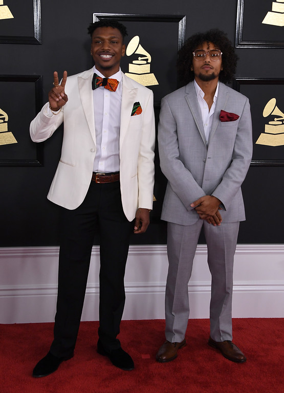 . Los Rakas arrives for the 59th Grammy Awards pre-telecast on February 12, 2017, in Los Angeles, California.  (MARK RALSTON/AFP/Getty Images)