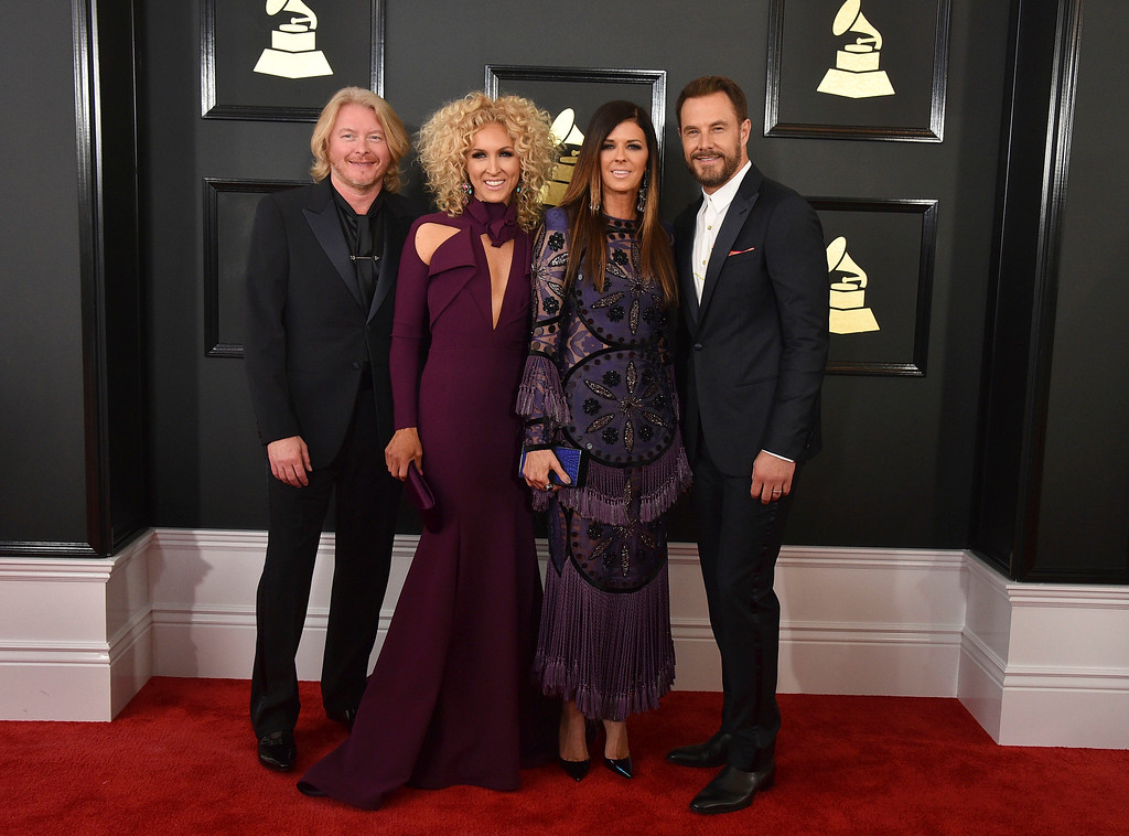 . Philip Sweet, from left, Kimberly Schlapman, Karen Fairchild, and Jimi Westbrook of the musical group Little Big Town arrive at the 59th annual Grammy Awards at the Staples Center on Sunday, Feb. 12, 2017, in Los Angeles. (Photo by Jordan Strauss/Invision/AP)