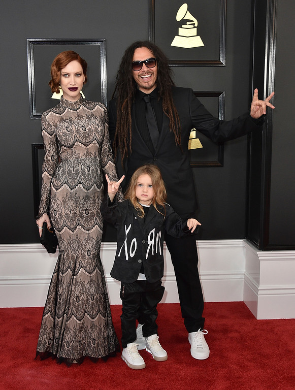 . Evis X. Shaffer, from left, D\'Angelo Shaffer, and James Shaffer arrive at the 59th annual Grammy Awards at the Staples Center on Sunday, Feb. 12, 2017, in Los Angeles. (Photo by Jordan Strauss/Invision/AP)