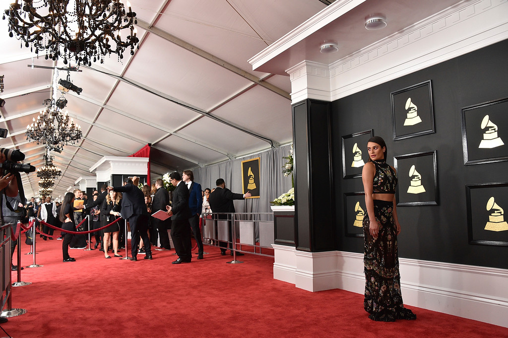 . Lea Michele arrives at the 59th annual Grammy Awards at the Staples Center on Sunday, Feb. 12, 2017, in Los Angeles. (Photo by Jordan Strauss/Invision/AP)