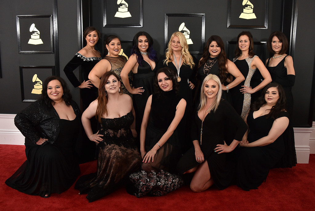 . Mariachi Divas arrive at the 59th annual Grammy Awards at the Staples Center on Sunday, Feb. 12, 2017, in Los Angeles. (Photo by Jordan Strauss/Invision/AP)