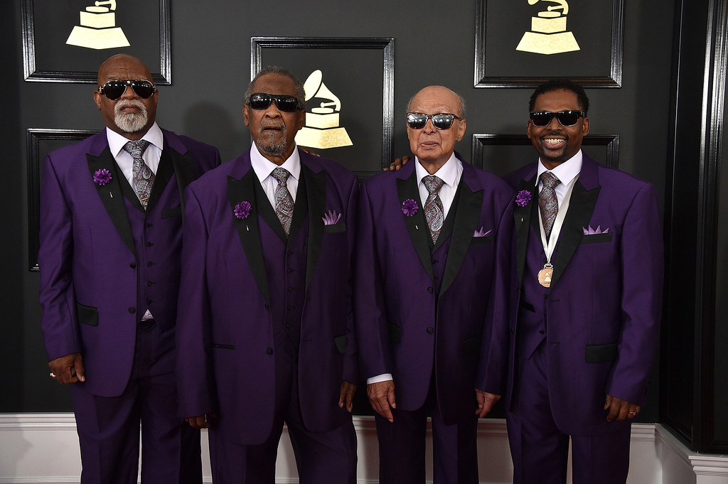 . Eric McKinnie, from left,  Ben Moore, Jimmy Carter, and Joey Williams of the musical group Blind Boys of Alabama arrive at the 59th annual Grammy Awards at the Staples Center on Sunday, Feb. 12, 2017, in Los Angeles. (Photo by Jordan Strauss/Invision/AP)