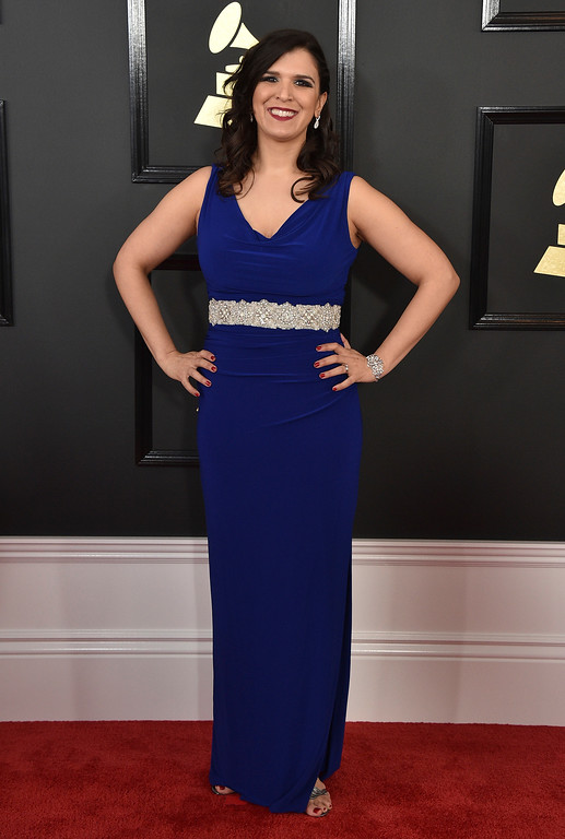 . Jeanne Montalvo arrives at the 59th annual Grammy Awards at the Staples Center on Sunday, Feb. 12, 2017, in Los Angeles. (Photo by Jordan Strauss/Invision/AP)