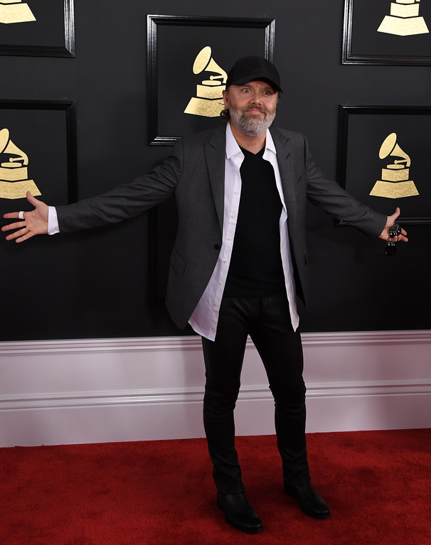 . Lars Ulrich arrive for the 59th Grammy Awards on February 12, 2017, in Los Angeles, California.  (MARK RALSTON/AFP/Getty Images)