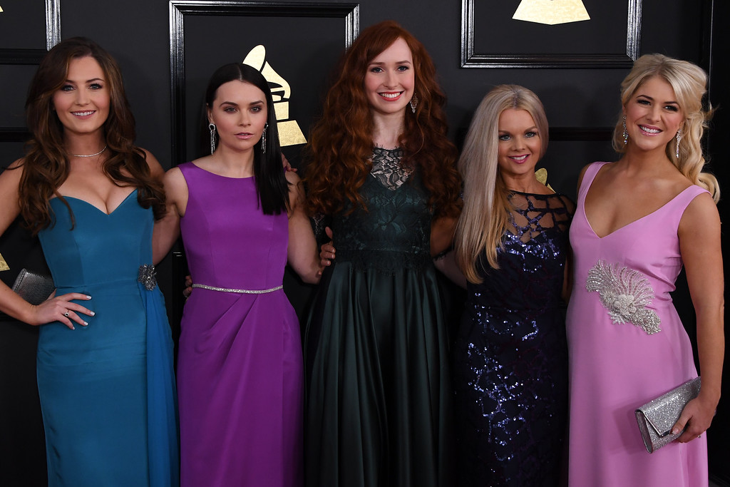 . Members of the Celtic Women arrive for the 59th Grammy Awards pre-telecast on February 12, 2017, in Los Angeles, California.  (MARK RALSTON/AFP/Getty Images)