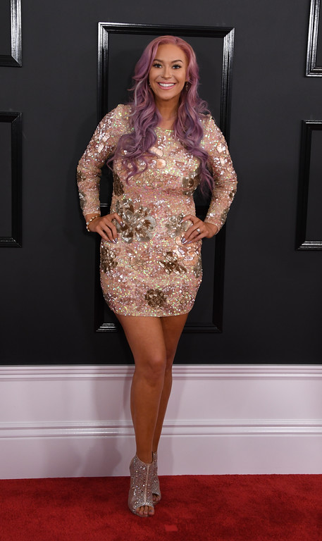 . Kaya Jones arrives for the 59th Grammy Awards pre-telecast on February 12, 2017, in Los Angeles, California.  (MARK RALSTON/AFP/Getty Images)