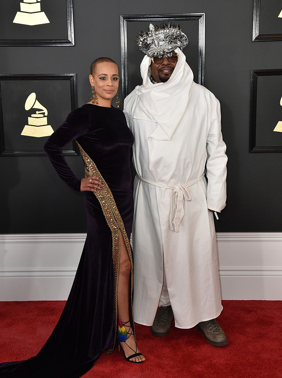 . Carlon Thompson-Clinton, left, and George Clinton arrive at the 59th annual Grammy Awards at the Staples Center on Sunday, Feb. 12, 2017, in Los Angeles. (Photo by Jordan Strauss/Invision/AP)
