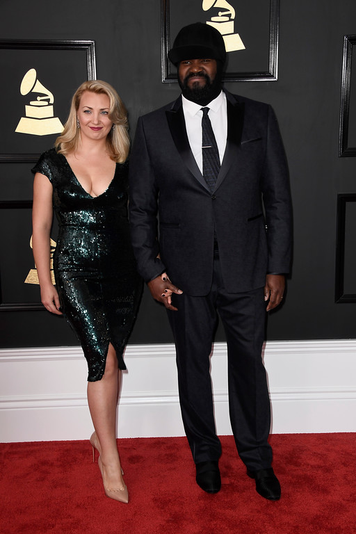 . LOS ANGELES, CA - FEBRUARY 12:  Singer Gregory Porter (R) and Victoria Porter attend The 59th GRAMMY Awards at STAPLES Center on February 12, 2017 in Los Angeles, California.  (Photo by Frazer Harrison/Getty Images)