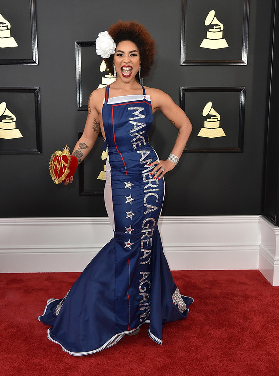 . Joy Villa arrives at the 59th annual Grammy Awards at the Staples Center on Sunday, Feb. 12, 2017, in Los Angeles. (Photo by Jordan Strauss/Invision/AP)