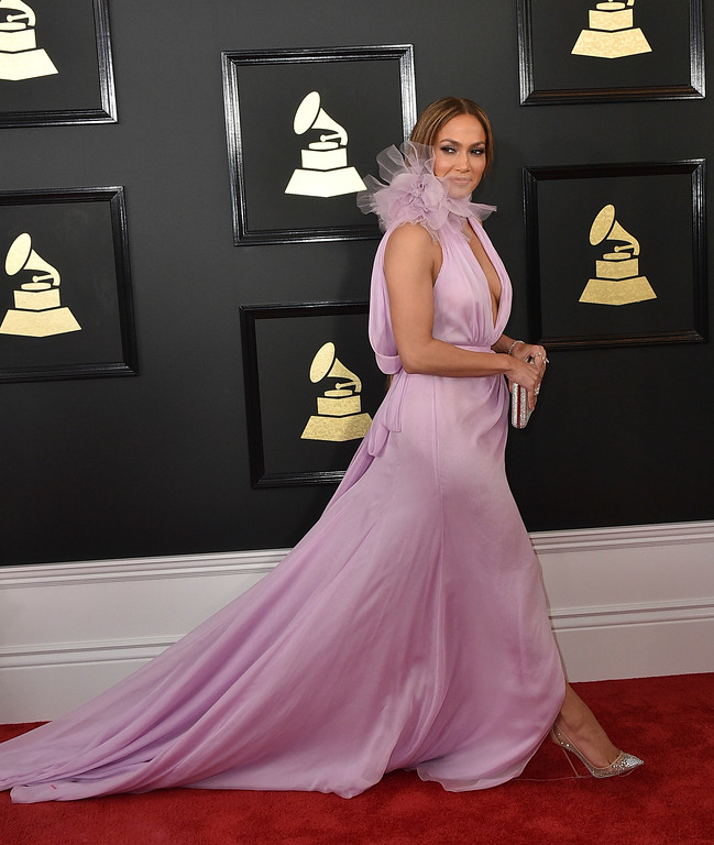 . Jennifer Lopez arrives at the 59th annual Grammy Awards at the Staples Center on Sunday, Feb. 12, 2017, in Los Angeles. (Photo by Jordan Strauss/Invision/AP)