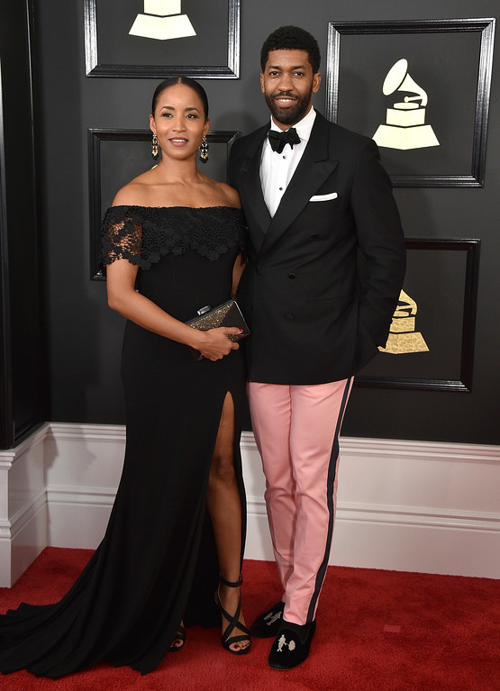 . Faune Watkins, left, and Derek Watkins aka Fonzworth Bentley arrive at the 59th annual Grammy Awards at the Staples Center on Sunday, Feb. 12, 2017, in Los Angeles. (Photo by Jordan Strauss/Invision/AP)