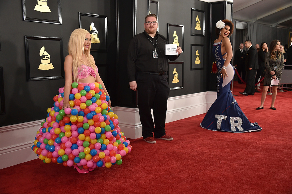 . Girl Crush, left, and Joy Villa arrive at the 59th annual Grammy Awards at the Staples Center on Sunday, Feb. 12, 2017, in Los Angeles. (Photo by Jordan Strauss/Invision/AP)
