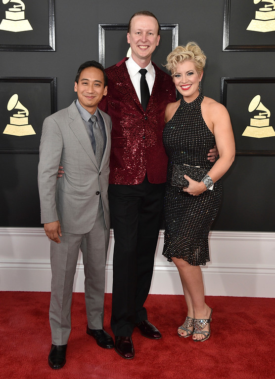 . Rick Gabrillo, from left, Carr Hornbuckle, and Mela Dailey arrives at the 59th annual Grammy Awards at the Staples Center on Sunday, Feb. 12, 2017, in Los Angeles. (Photo by Jordan Strauss/Invision/AP)