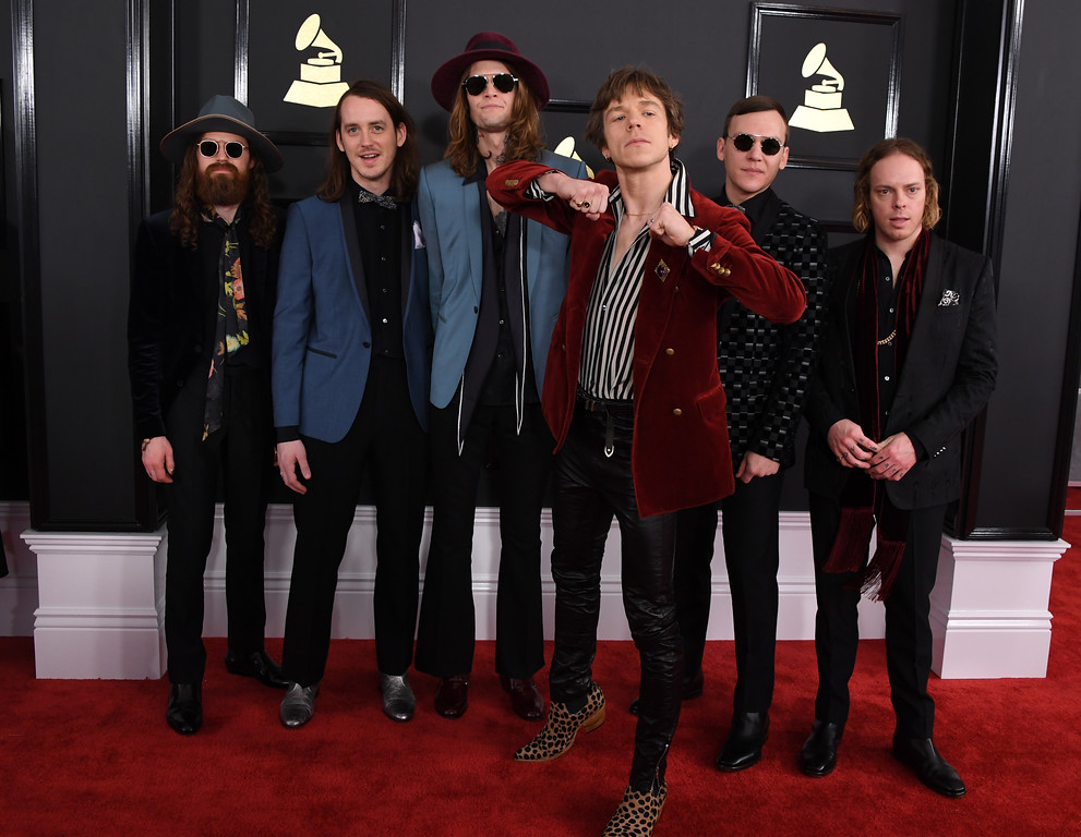 . The band Cage the Elephant arrives for the 59th Grammy Awards pre-telecast on February 12, 2017, in Los Angeles, California.  (MARK RALSTON/AFP/Getty Images)