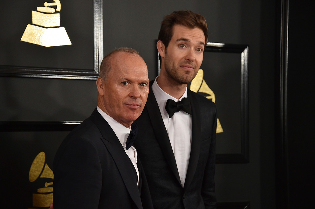 . Michael Keaton, left, and Sean Douglas arrive at the 59th annual Grammy Awards at the Staples Center on Sunday, Feb. 12, 2017, in Los Angeles. (Photo by Jordan Strauss/Invision/AP)
