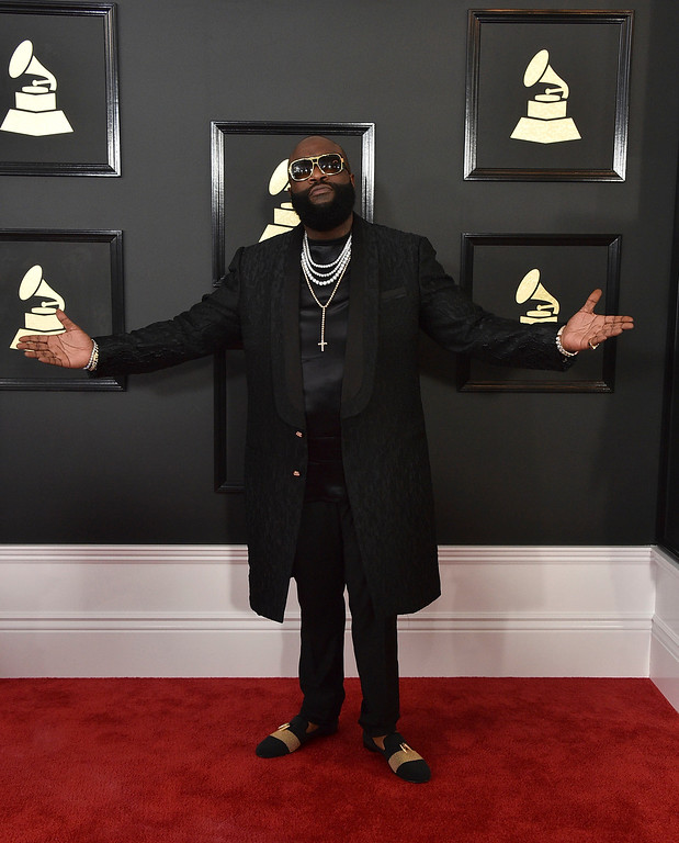 . Rick Ross arrives at the 59th annual Grammy Awards at the Staples Center on Sunday, Feb. 12, 2017, in Los Angeles. (Photo by Jordan Strauss/Invision/AP)