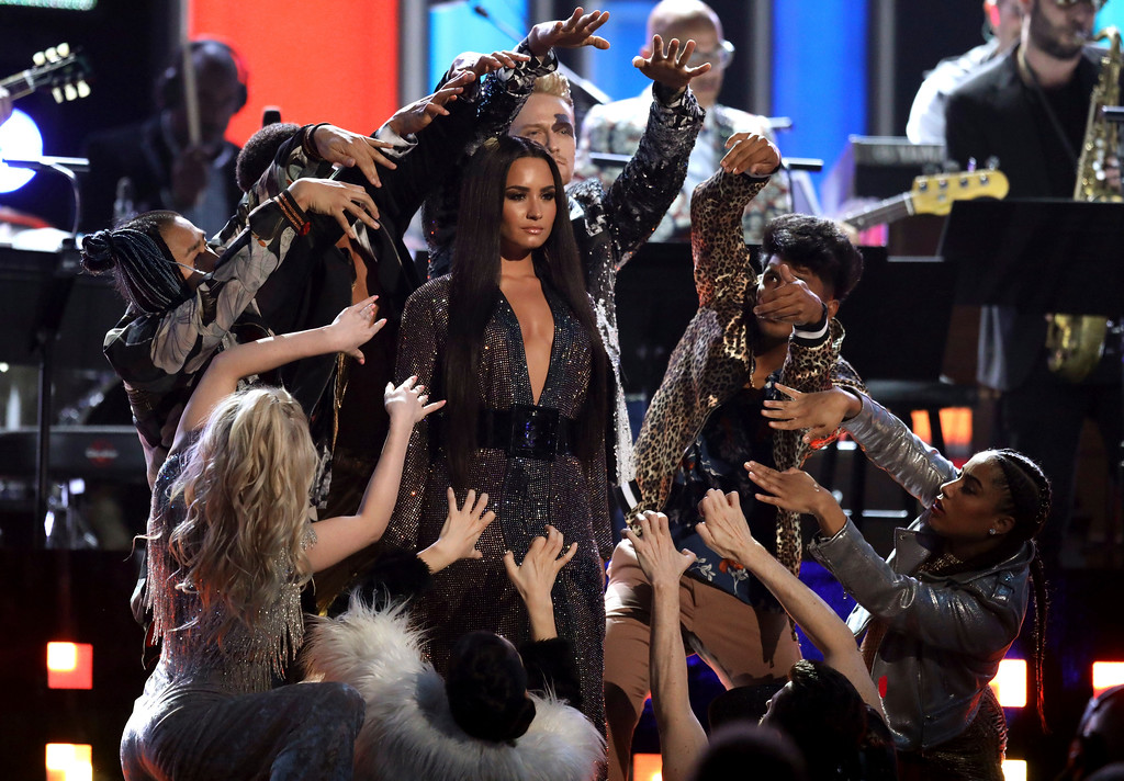 . Demi Lovato performs a tribute to the Bee Gees at the 59th annual Grammy Awards on Sunday, Feb. 12, 2017, in Los Angeles. (Photo by Matt Sayles/Invision/AP)