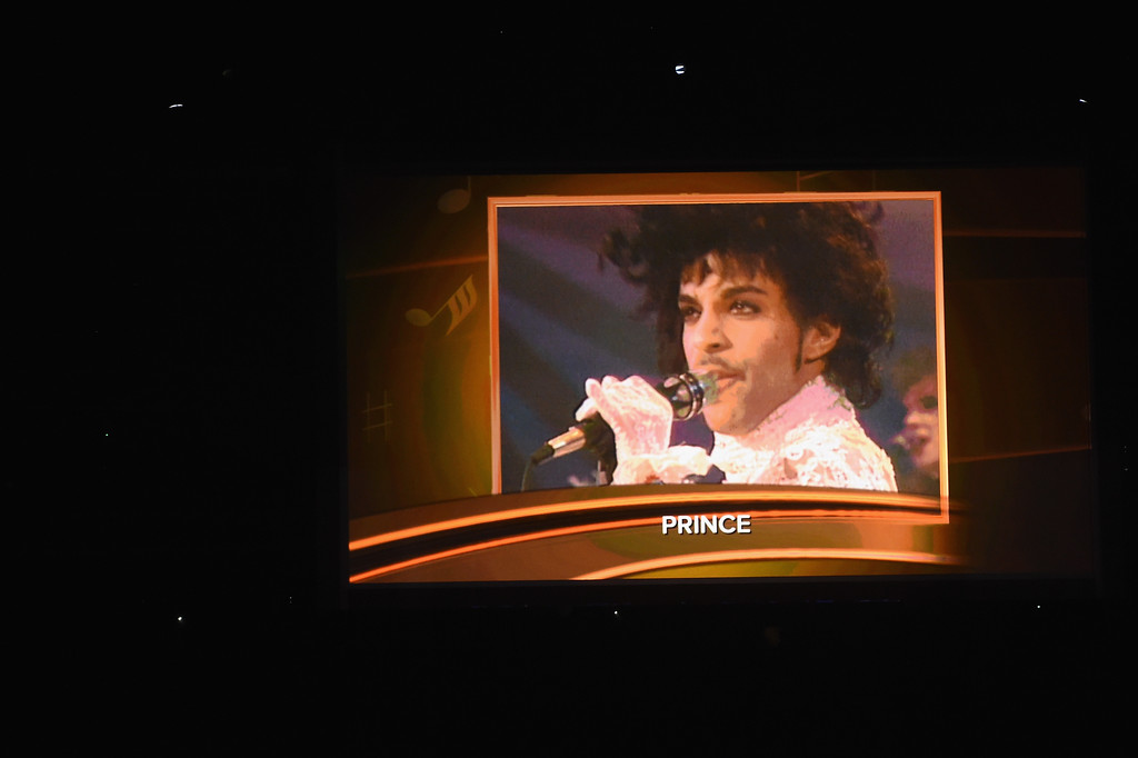 . LOS ANGELES, CA - FEBRUARY 12:  An image of the late Prince is projected on a video screen during The 59th GRAMMY Awards at STAPLES Center on February 12, 2017 in Los Angeles, California.  (Photo by Kevin Winter/Getty Images for NARAS)