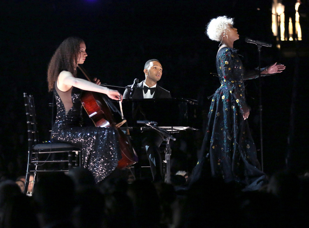 """. Cynthia Erivo, right, and John Legend perform \""""God Only Knows\"""" at the 59th annual Grammy Awards on Sunday, Feb. 12, 2017, in Los Angeles. (Photo by Matt Sayles/Invision/AP)"""