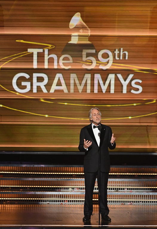 . LOS ANGELES, CA - FEBRUARY 12:  President/CEO of The Recording Academy and GRAMMY Foundation President/CEO Neil Portnow speaks onstage during The 59th GRAMMY Awards at STAPLES Center on February 12, 2017 in Los Angeles, California.  (Photo by Kevin Winter/Getty Images for NARAS)