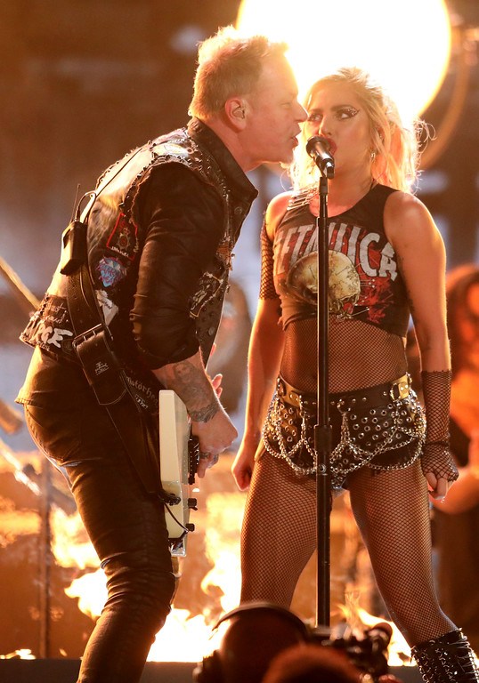 """. Lady Gaga, right, and James Hetfield of \""""Metallica\"""" perform \""""Moth Into Flame\"""" at the 59th annual Grammy Awards on Sunday, Feb. 12, 2017, in Los Angeles. (Photo by Matt Sayles/Invision/AP)"""