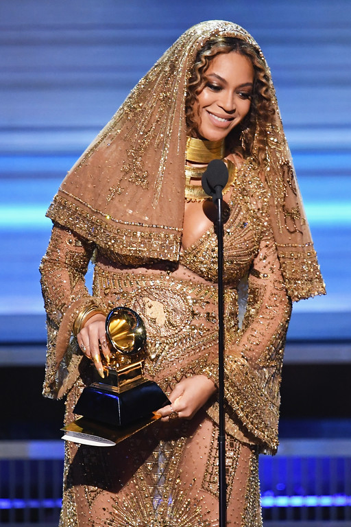 . LOS ANGELES, CA - FEBRUARY 12:  Recording artist Beyonce accepts the Best Urban Contemporary Album award for \'Lemonade\' onstage during The 59th GRAMMY Awards at STAPLES Center on February 12, 2017 in Los Angeles, California.  (Photo by Kevin Winter/Getty Images for NARAS)