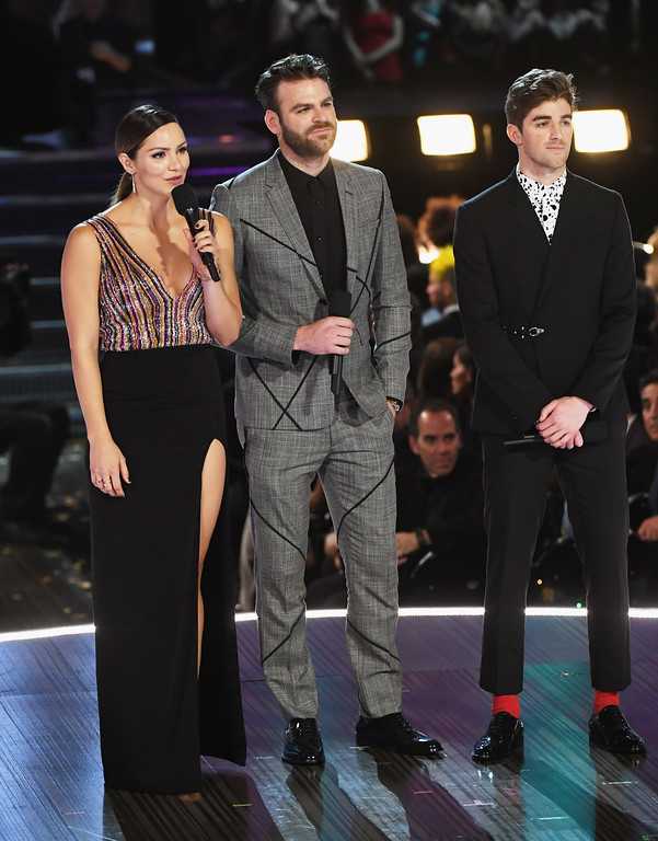 . LOS ANGELES, CA - FEBRUARY 12:  (L-R) Actress-recording artist Katharine McPhee, and recording artists Alex Pall and Andrew Taggart of music group The Chainsmokers speak onstage during The 59th GRAMMY Awards at STAPLES Center on February 12, 2017 in Los Angeles, California.  (Photo by Kevin Winter/Getty Images for NARAS)
