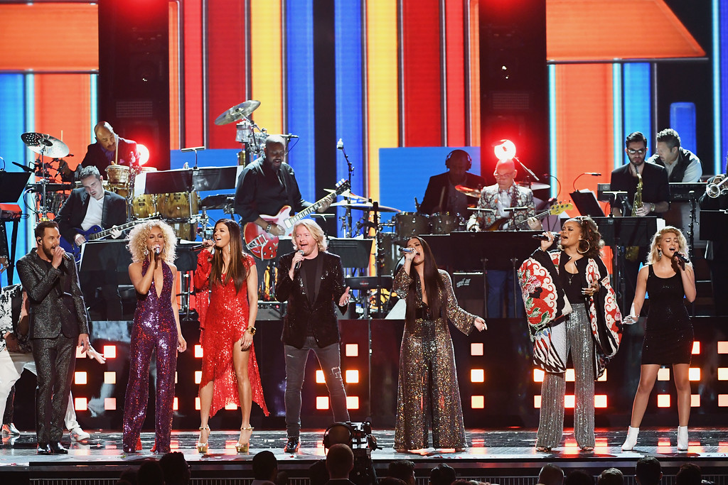 . LOS ANGELES, CA - FEBRUARY 12:  (L-R) Recording artists Jimi Westbrook, Kimberly Schlapman, Karen Fairchild, and Philip Sweet of music group Little Big Town, and recording artists Demi Lovato, Andra Day, and Tori Kelly perform onstage during The 59th GRAMMY Awards at STAPLES Center on February 12, 2017 in Los Angeles, California.  (Photo by Kevin Winter/Getty Images for NARAS)