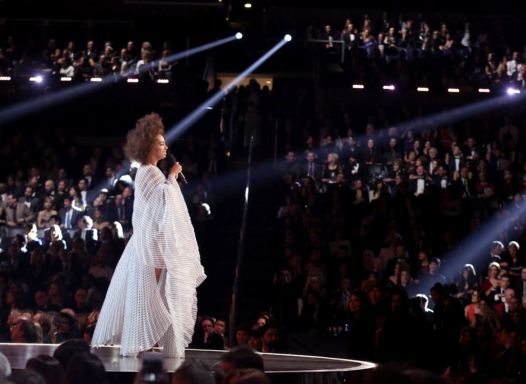 . Solange introduces a performance at the 59th annual Grammy Awards on Sunday, Feb. 12, 2017, in Los Angeles. (Photo by Matt Sayles/Invision/AP)