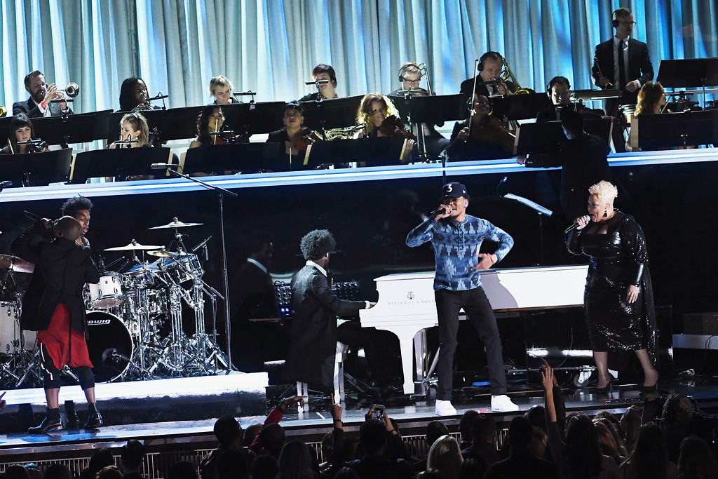 . LOS ANGELES, CA - FEBRUARY 12:  (L-R) Recording artists Kirk Franklin, Chance the Rapper, and Tamela Mann perform onstage during The 59th GRAMMY Awards at STAPLES Center on February 12, 2017 in Los Angeles, California.  (Photo by Kevin Winter/Getty Images for NARAS)