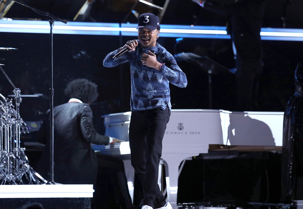 . Chance the Rapper performs at the 59th annual Grammy Awards on Sunday, Feb. 12, 2017, in Los Angeles. (Photo by Matt Sayles/Invision/AP)