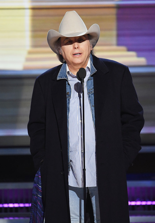 . LOS ANGELES, CA - FEBRUARY 12:  Recording artist-actor Dwight Yoakam speaks onstage during The 59th GRAMMY Awards at STAPLES Center on February 12, 2017 in Los Angeles, California.  (Photo by Kevin Winter/Getty Images for NARAS)