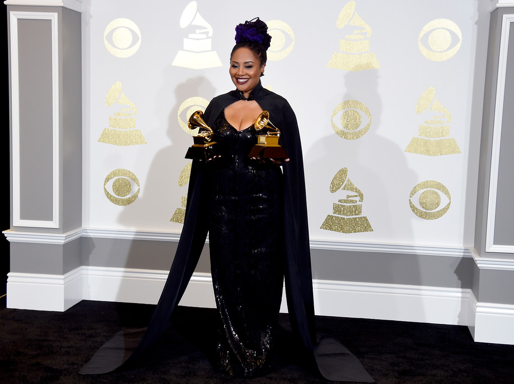 """. Lalah Hathaway poses in the press room with the awards for best traditional R&B performance for \""""Angel\"""" and best R&B album for \""""Lalah Hathaway Live\"""" at the 59th annual Grammy Awards at the Staples Center on Sunday, Feb. 12, 2017, in Los Angeles. (Photo by Chris Pizzello/Invision/AP)"""