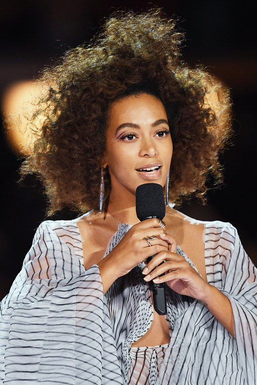 . LOS ANGELES, CA - FEBRUARY 12:  Recording artist Solange Knowles speaks onstage during The 59th GRAMMY Awards at STAPLES Center on February 12, 2017 in Los Angeles, California.  (Photo by Kevin Winter/Getty Images for NARAS)