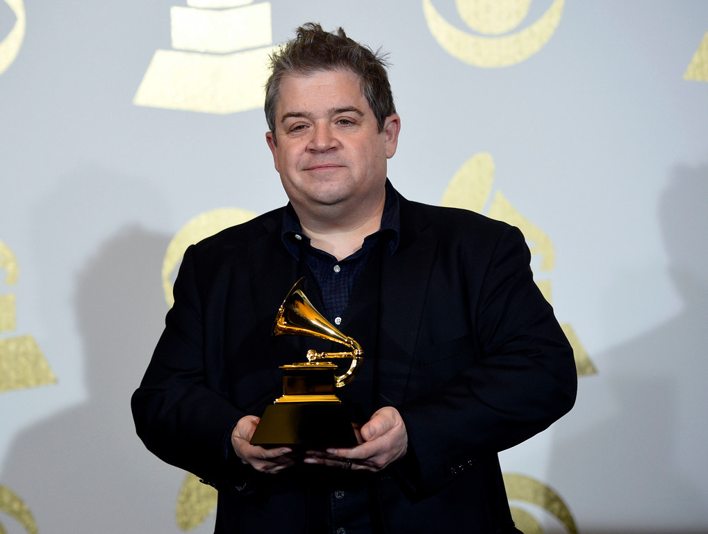 ". Patton Oswalt poses in the press room with the award for best comedy album for ""Talking for Clapping\"" at the 59th annual Grammy Awards at the Staples Center on Sunday, Feb. 12, 2017, in Los Angeles. (Photo by Chris Pizzello/Invision/AP)"